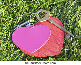 Key with two hearts a symbol of love on the grass background.