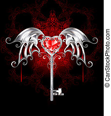key with vampire heart - jewelry silver key with a ruby...