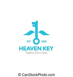 Key with wings to flying logo design