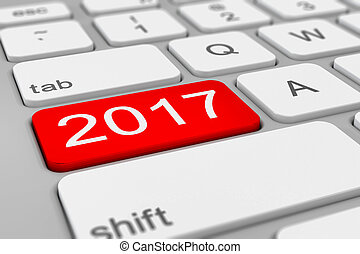 keyboard - 2017 happy new year - red