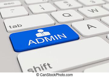 keyboard - admin - blue - 3d rendering of a white keyboard...