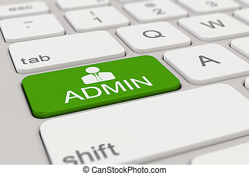 3d rendering of a white keyboard with green admin button, web concept.