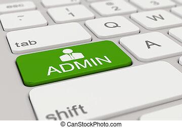 keyboard - admin - green - 3d rendering of a white keyboard ...