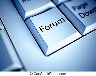 Keyboard and blue Forum button, internet concept