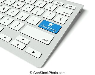 Keyboard and blue Shopping button, internet concept