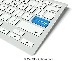 Keyboard and blue Strategy button, business concept