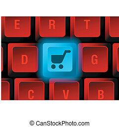 keyboard button - keyboard with glowing button with shopping...