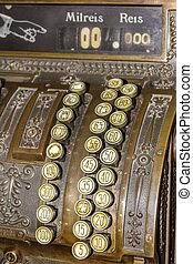 Keyboard closeup of an Antique cash register. Image useful...