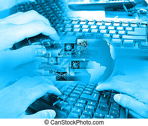 Photograph which depicts a collage made up of the keyboard and the human hand to designers for various necessities.