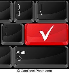 computer button check symbol - Keyboard computer button...
