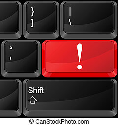 computer button exclamation mark
