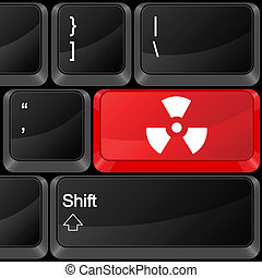 Keyboard computer button radiation sign. Vector illustration.