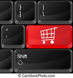computer button shopping cart