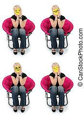 Keyboard Emoji Faced Girl Sitting in Chair