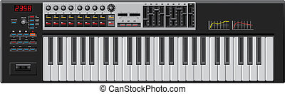 Keyboard - Professional MIDI Keyboard - Detailed. Editable...