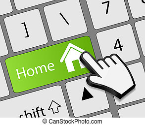 Keyboard Home button with mouse hand cursor vector ...