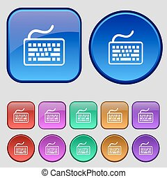 Keyboard icon sign. A set of twelve vintage buttons for your design. Vector