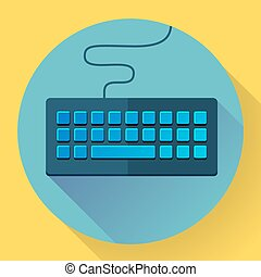 Keyboard icon with long shadow. Flat style