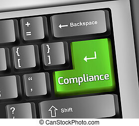 Keyboard Illustration with Compliance wording