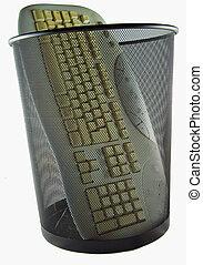 Keyboard in trash can