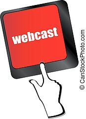 keyboard key with webcast web button vector