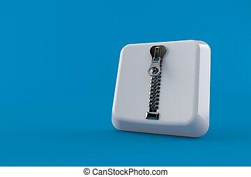 Keyboard key with zipper