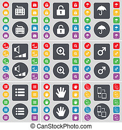 Keyboard, Lock, Umbrella, Volume, Magnifying glass, Mars symbol, List, Hand, Connection icon symbol. A large set of flat, colored buttons for your design.