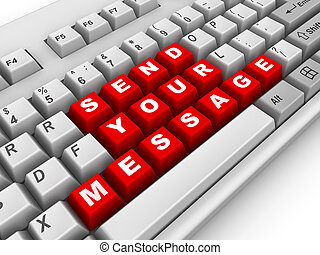 keyboard., message, envoyer, ton