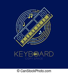 Keyboard, music note with line staff circle shape logo icon outline stroke set dash line design illustration isolated on dark blue background with keyboard text and copy space