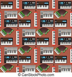 Keyboard musical instruments vector classical piano melody studio acoustic shiny musician equipment electronic sound seamless pattern background illustration.