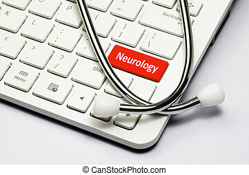 Keyboard, Neurology text and Stethoscope - Neurology text,...