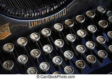 Keyboard of a vintage typewriter underwood in close up