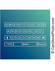 Keyboard of smartphone, alphabet buttons. Qwerty Vector illustration
