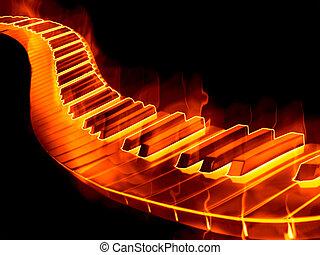 keyboard on fire - great image of a keyboard or piano keys...