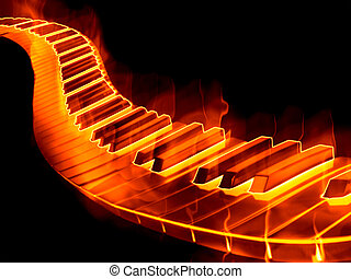 keyboard on fire - great image of a keyboard or piano keys...
