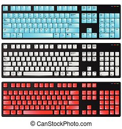 keyboard red blue and white vector illustration
