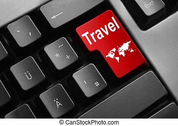 keyboard red button travel world