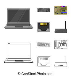 Keyboard, router, motherboard and connector. Personal computer set collection icons in cartoon, outline style bitmap symbol stock illustration web.