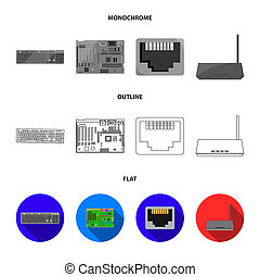 Keyboard, router, motherboard and connector. Personal computer set collection icons in flat, outline, monochrome style bitmap symbol stock illustration web.