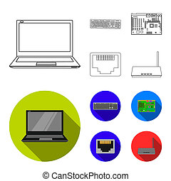Keyboard, router, motherboard and connector. Personal computer set collection icons in outline, flat style bitmap symbol stock illustration web.