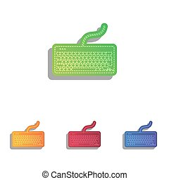 Keyboard simple sign. Colorfull applique icons set.