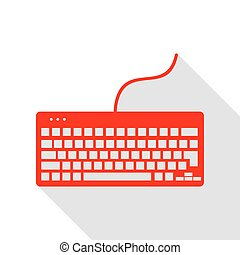 Keyboard simple sign. Red icon with flat style shadow path.
