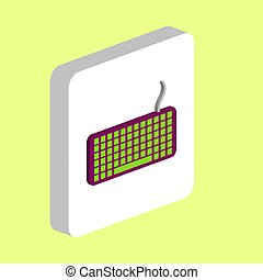 Keyboard Simple vector icon. Illustration symbol design template for web mobile UI element. Perfect color isometric pictogram on 3d white square. Keyboard icons for business project.