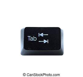 The Tab key from a black computer keyboard