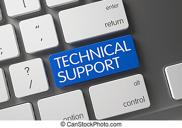 Keyboard with Blue Button - Technical Support. 3d