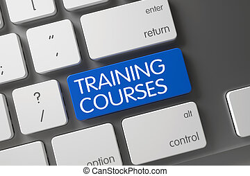 Keyboard with Blue Button - Training Courses.