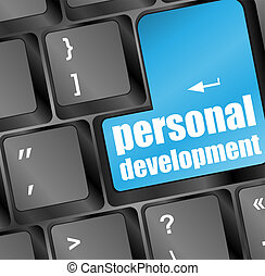 Keyboard with blue enter button personal development