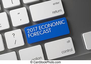 Keyboard with Blue Key - 2017 Economic Forecast. 3D.