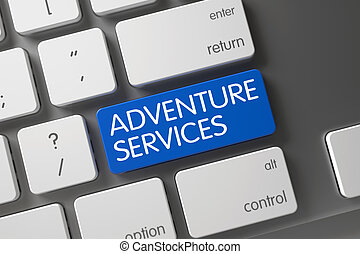Keyboard with Blue Key - Adventure Services. 3D.
