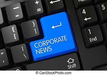 Keyboard with Blue Key - Corporate News. 3D.